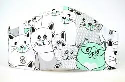 Baumwollmaske Katzen weiß/türkis mit Einlagefach-Option und Größenwahl
