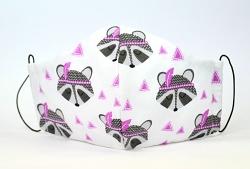 Baumwollmaske Waschbär grau/pink mit Einlagefach-Option und Größenwahl