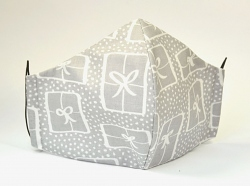 Baumwollmaske Schleifen grau mit Einlagefach-Option und Größenwahl