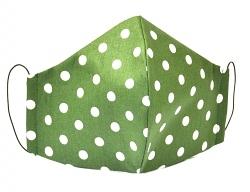 Baumwollmaske Punkte dunkelgrün mit Einlagefach-Option und Größenwahl
