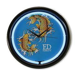 Ed Hardy Wanduhr mit Neonring Gold Koi Fish