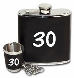 Flachmann mit Aufdruck 30 schwarz inkl. Trinkbecher