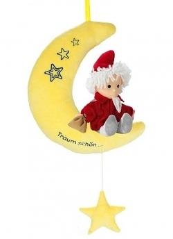 Spieluhr Sandmannpuppe auf Mond gelb
