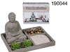 Dekoratives Kerzenset Buddha grau