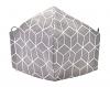 Baumwollmaske Hexagon dunkelgrau mit Filterfach-Option und Größenwahl