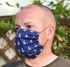 Leichte Stoffmaske Anker dunkelblau Facie 1-lagig mit Nasenbügel-Option & Größenwahl