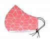 Baumwollmaske Hexagon lachsrot mit Filterfach-Option und Größenwahl
