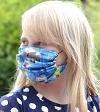 Jersey Stoffmaske Minecraft blau Facie 1-lagig mit Nasenbügel-Option & Größenwahl