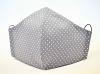Baumwollmaske Punkte grau/weiß mit Einlagefach-Option und Größenwahl