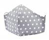 Baumwollmaske Sterne grau mit Filterfach-Option und Größenwahl