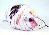Leichte Stoffmaske Federn pfirsich & schwarz Facie 1-lagig mit Nasenbügel-Option & Größenwahl