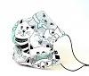 Leichte Stoffmaske Katzen weiß-türkis Facie 1-lagig mit Nasenbügel-Option & Größenwahl