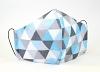 Baumwollmaske Dreiecke blau mit Filterfach-Option und Größenwahl