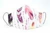 Baumwollmaske Federn lila mit Einlagefach-Option und Größenwahl