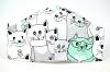 Baumwollmaske Katzen weiß/türkis mit Filterfach-Option und Größenwahl