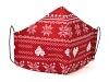 Baumwollmaske Skandinavische Weihnachten rot mit Einlagefach-Option und Größenwahl